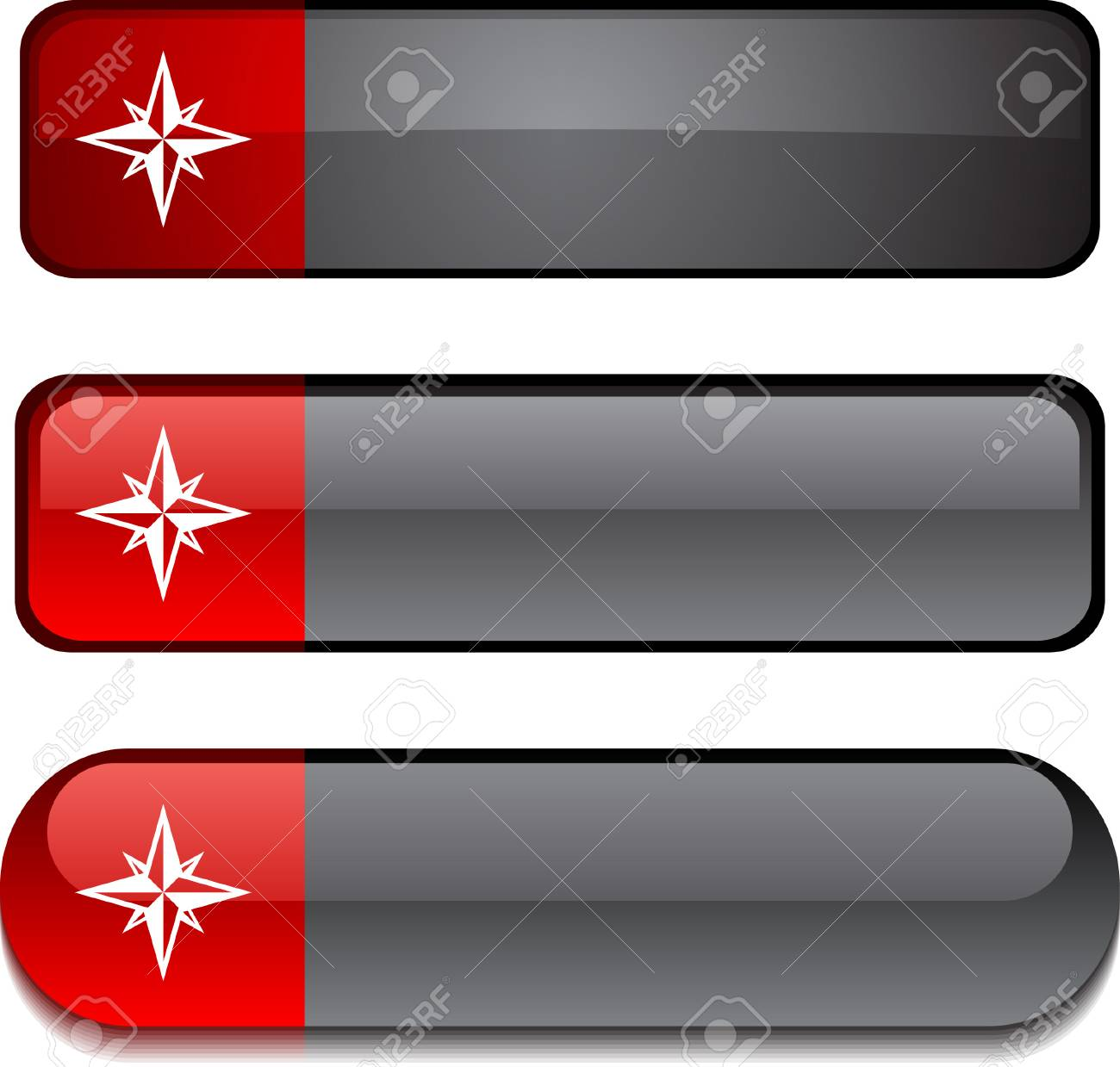 Compass   web buttons. Vector illustration. Stock Vector - 6302998
