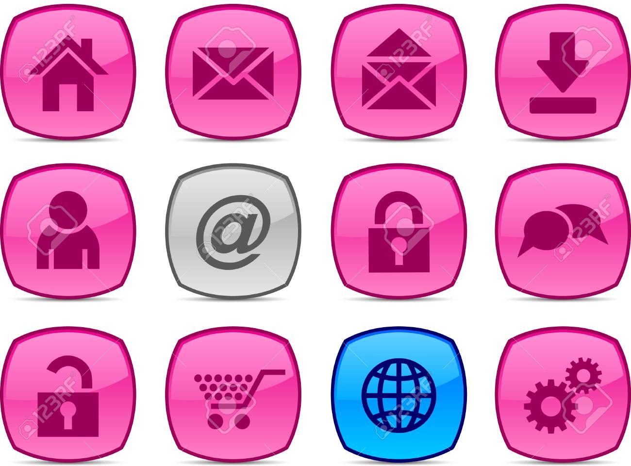web glossy icons. Vector buttons. Stock Vector - 6313428