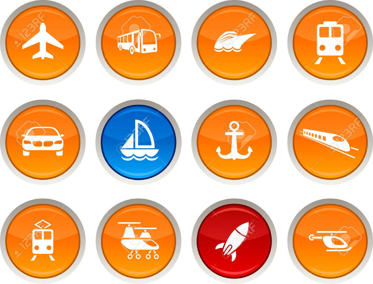 Transport glossy icons. Vector buttons. Stock Vector - 6334139