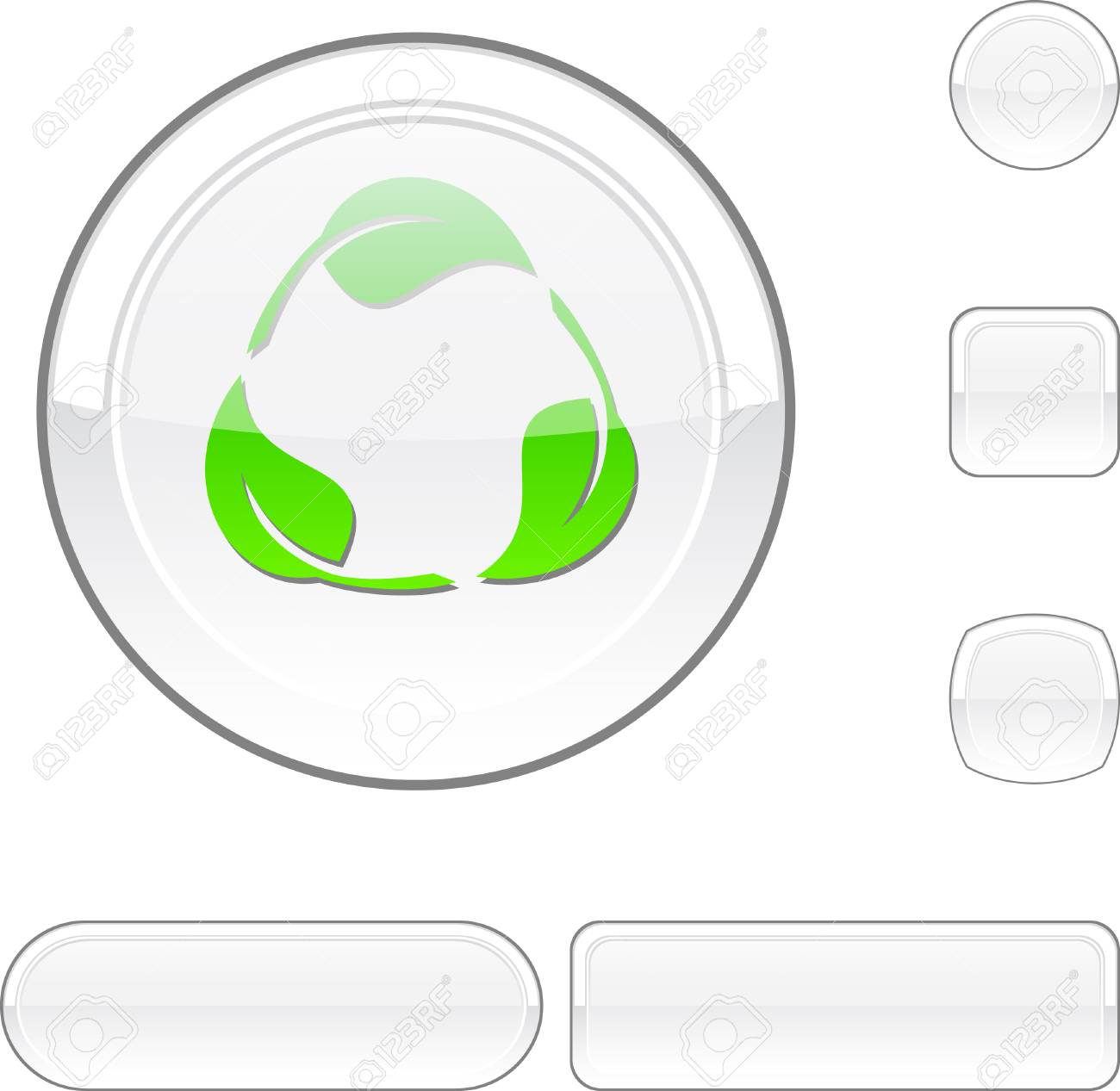 Recycle white buttons. Stock Vector - 6469472