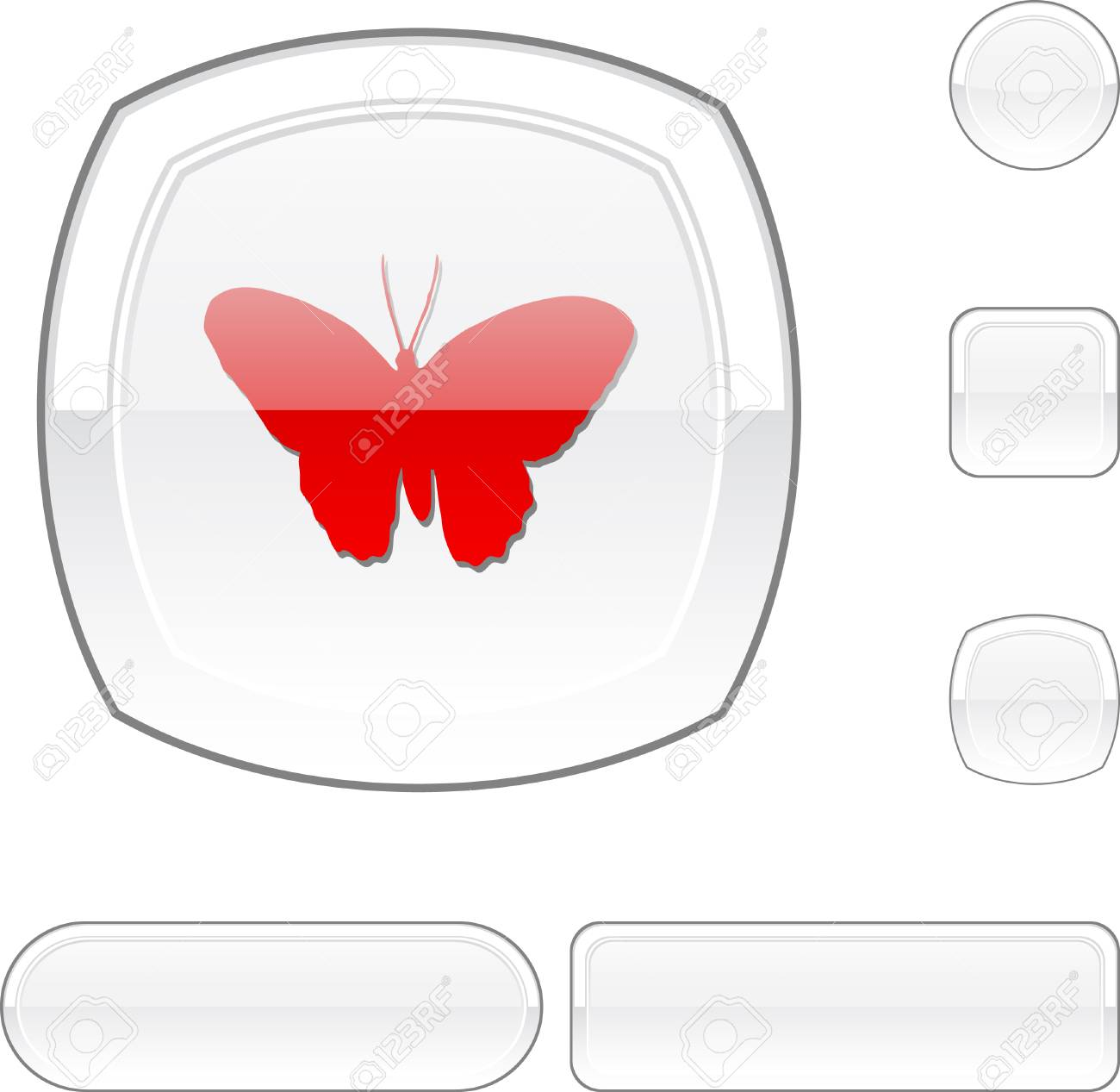 Butterfly white buttons. Stock Vector - 6482844