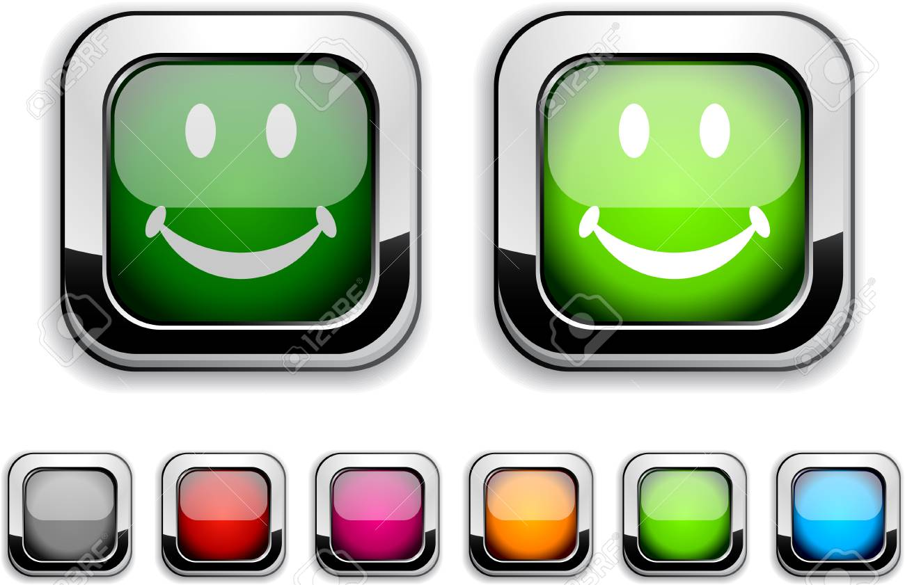 Smiley realistic icons. Empty buttons included. Stock Vector - 6609433