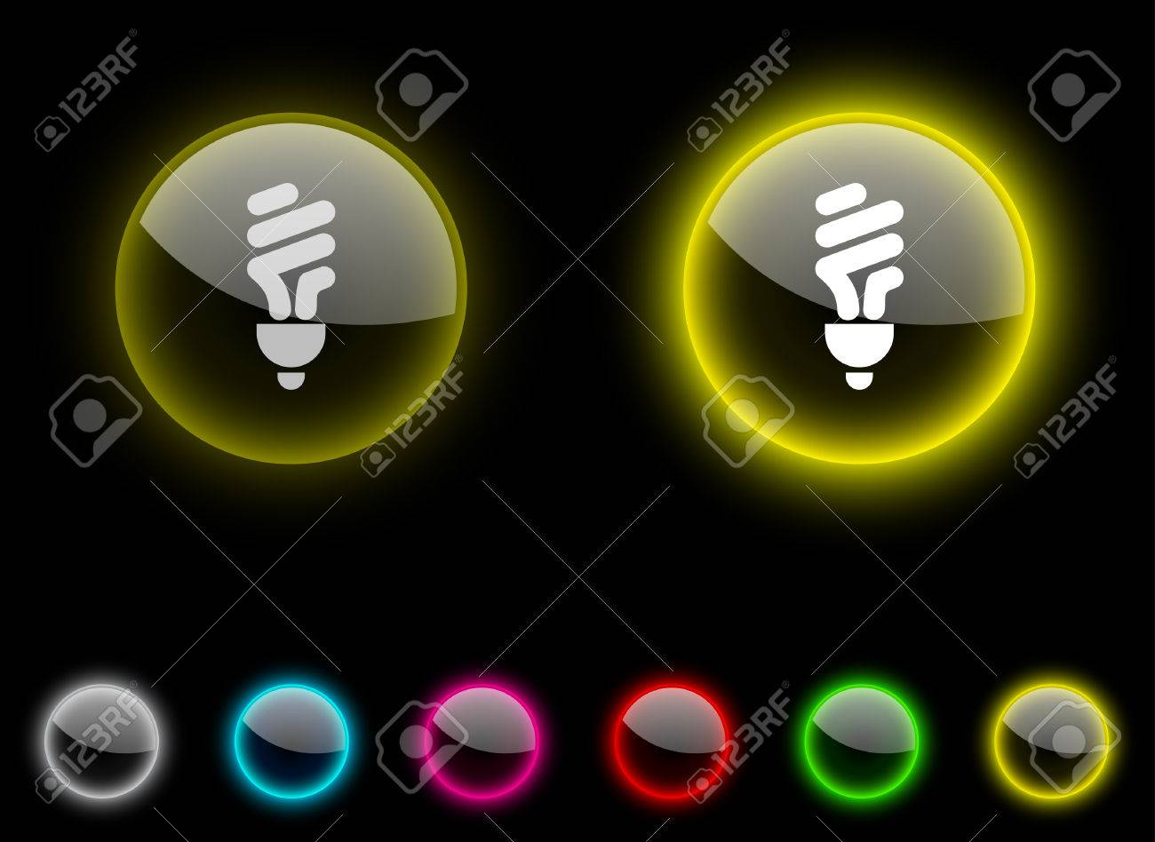 Fluorescent bulb realistic icons. Empty buttons included. Stock Vector - 6684682