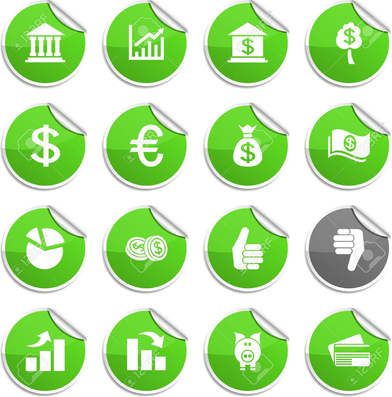Money set of round glossy stickers. Stock Vector - 6707944