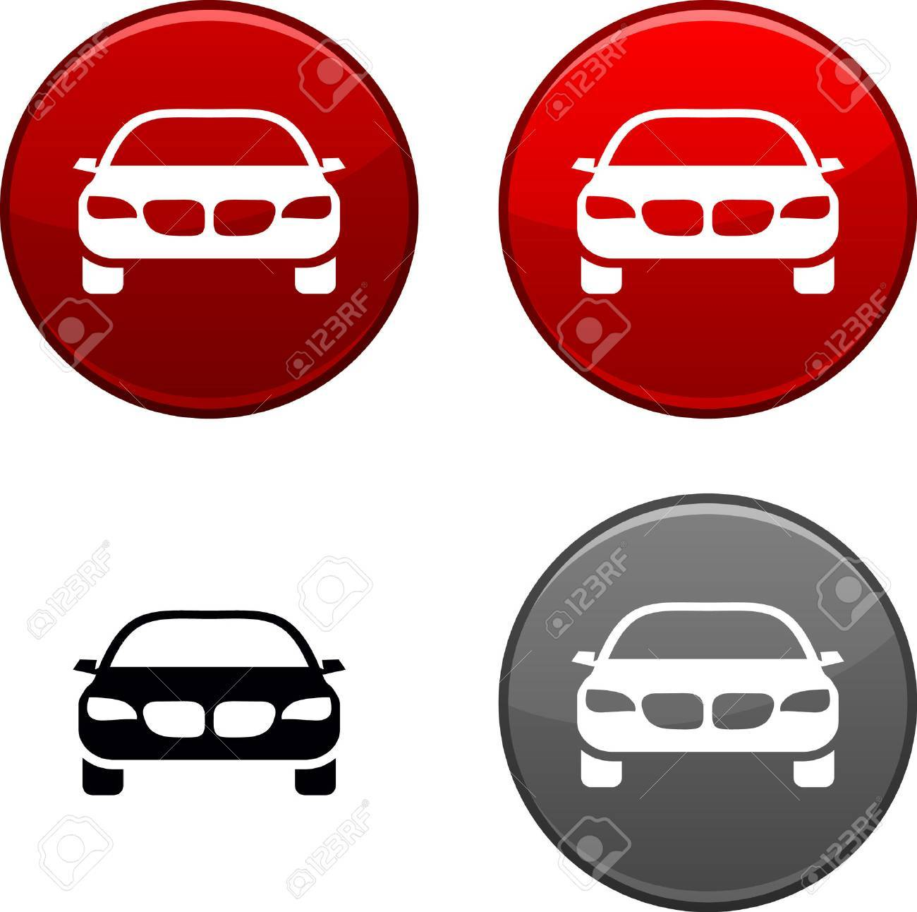Car round buttons. Black icon included. Stock Vector - 6740532