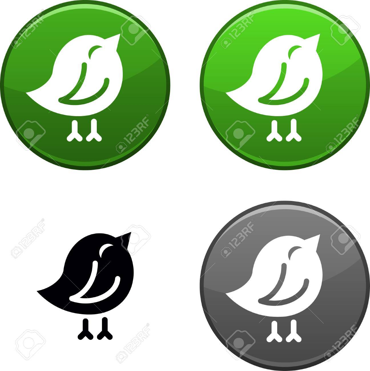 Bird round buttons. Black icon included. Stock Vector - 6749153