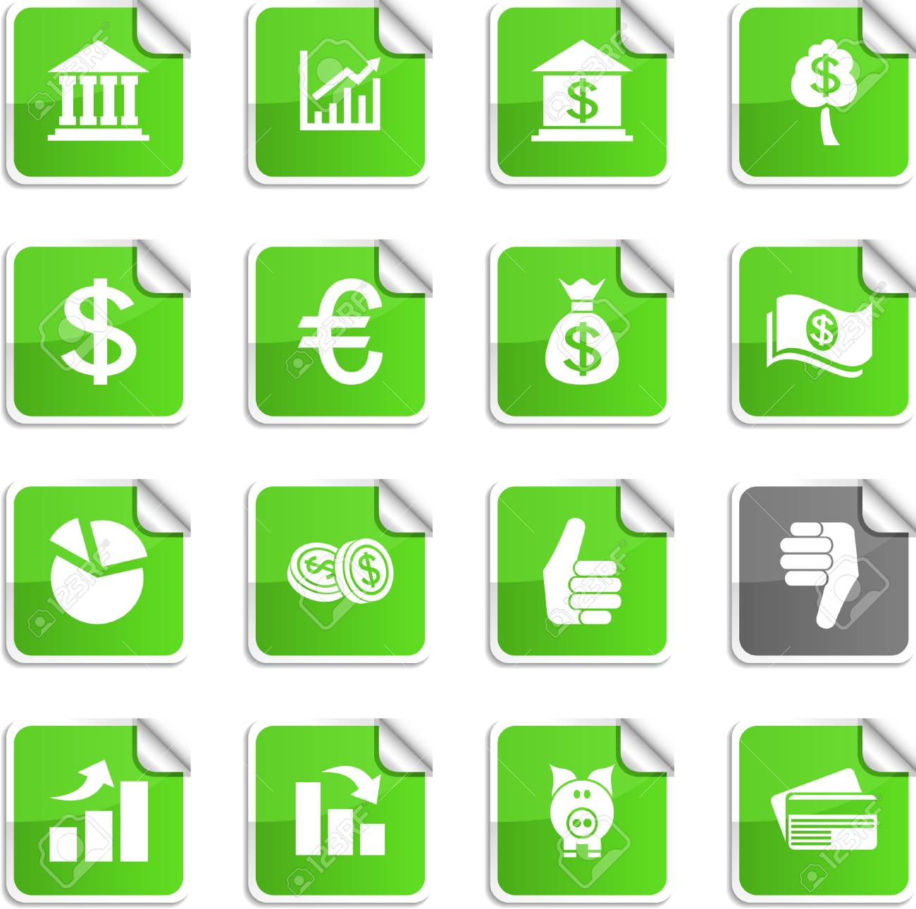 Money set of square glossy stickers. Stock Vector - 6766396