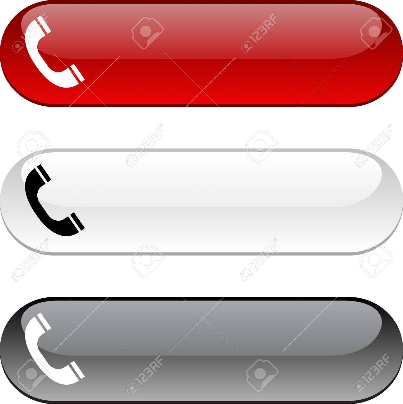 Telephone glossy buttons. Three color version. Stock Vector - 6784774