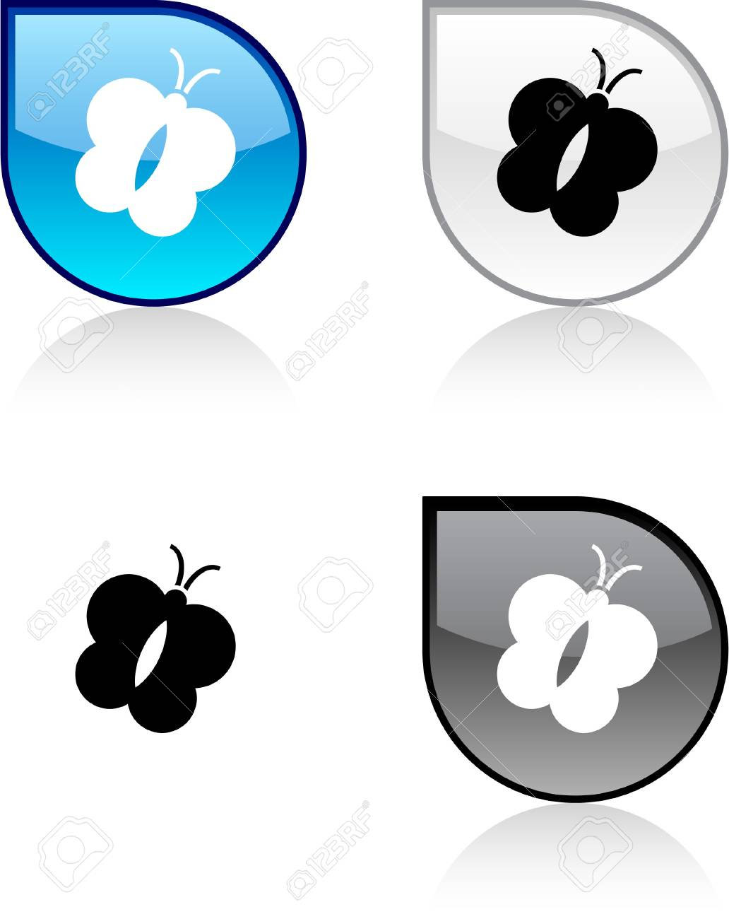 Butterfly glossy drop vibrant buttons. Stock Vector - 6872963