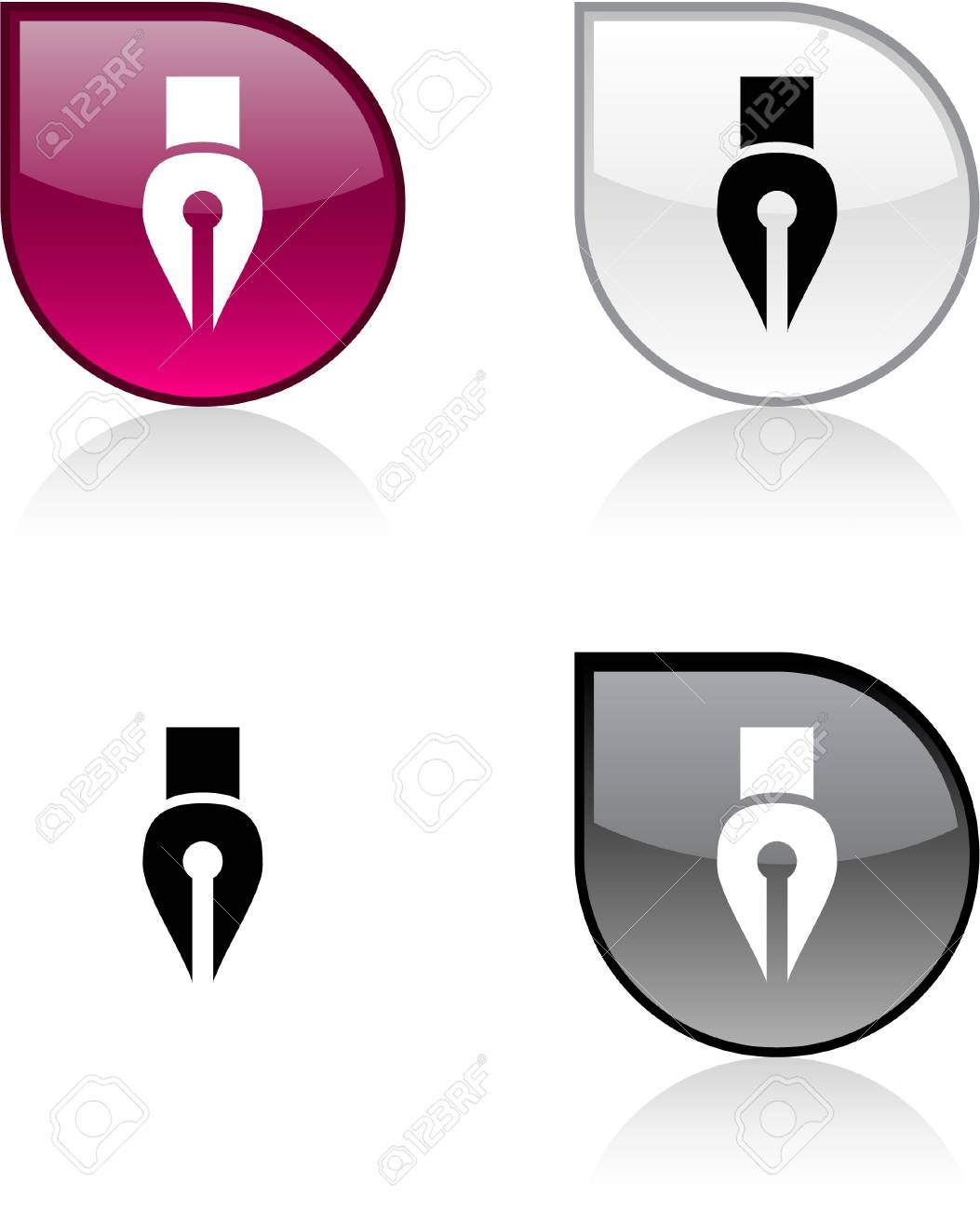 Pen glossy drop vibrant buttons. Stock Vector - 6932947