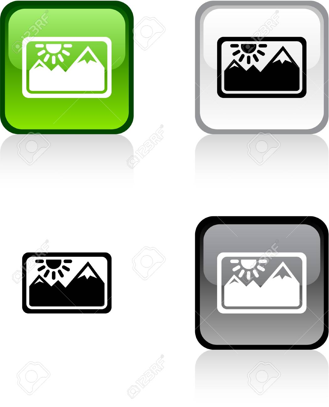 Picture glossy square vibrant buttons. Stock Vector - 7004326