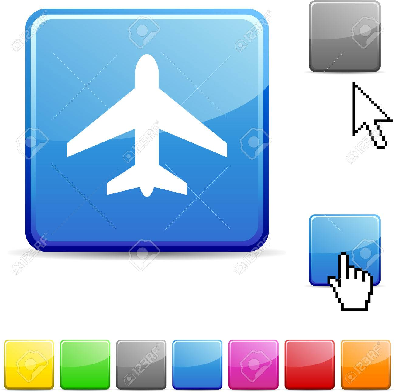 Aircraft glossy vibrant web icon. Stock Vector - 7107703