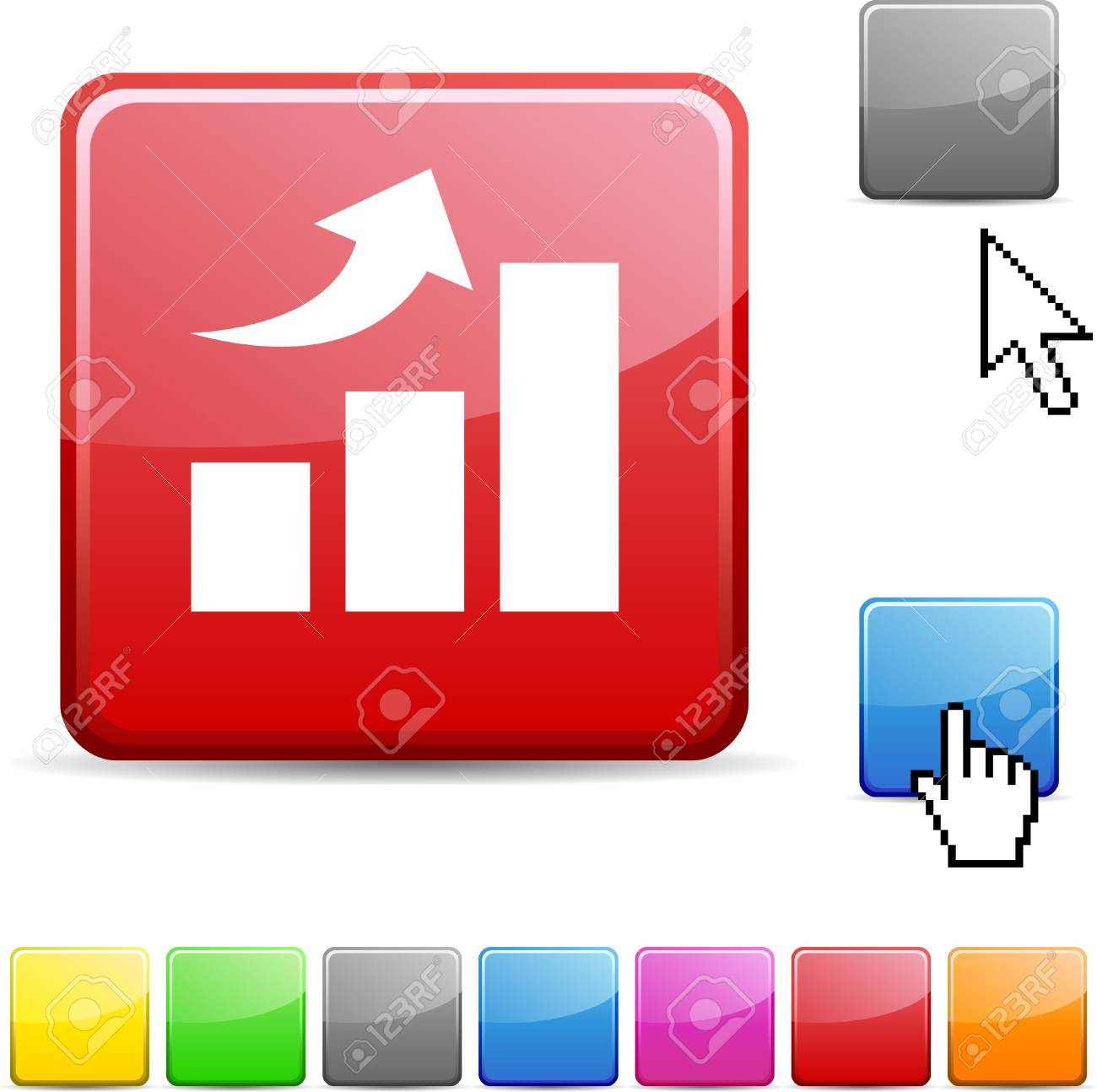 growth glossy vibrant web icon. Stock Vector - 7126952