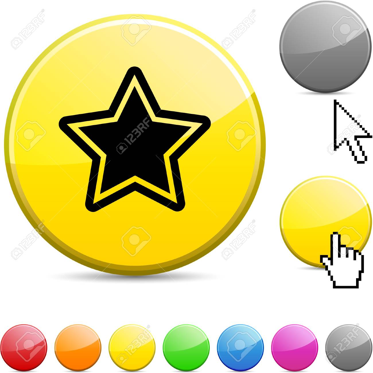 Star glossy vibrant round icon. Stock Vector - 7156269