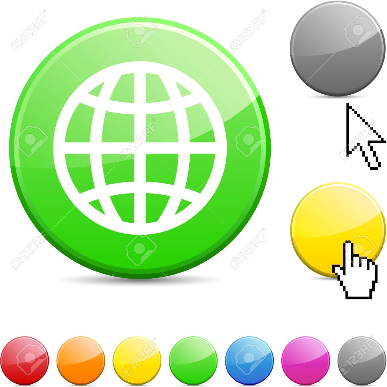 Earth glossy vibrant round icon. Stock Vector - 7156268