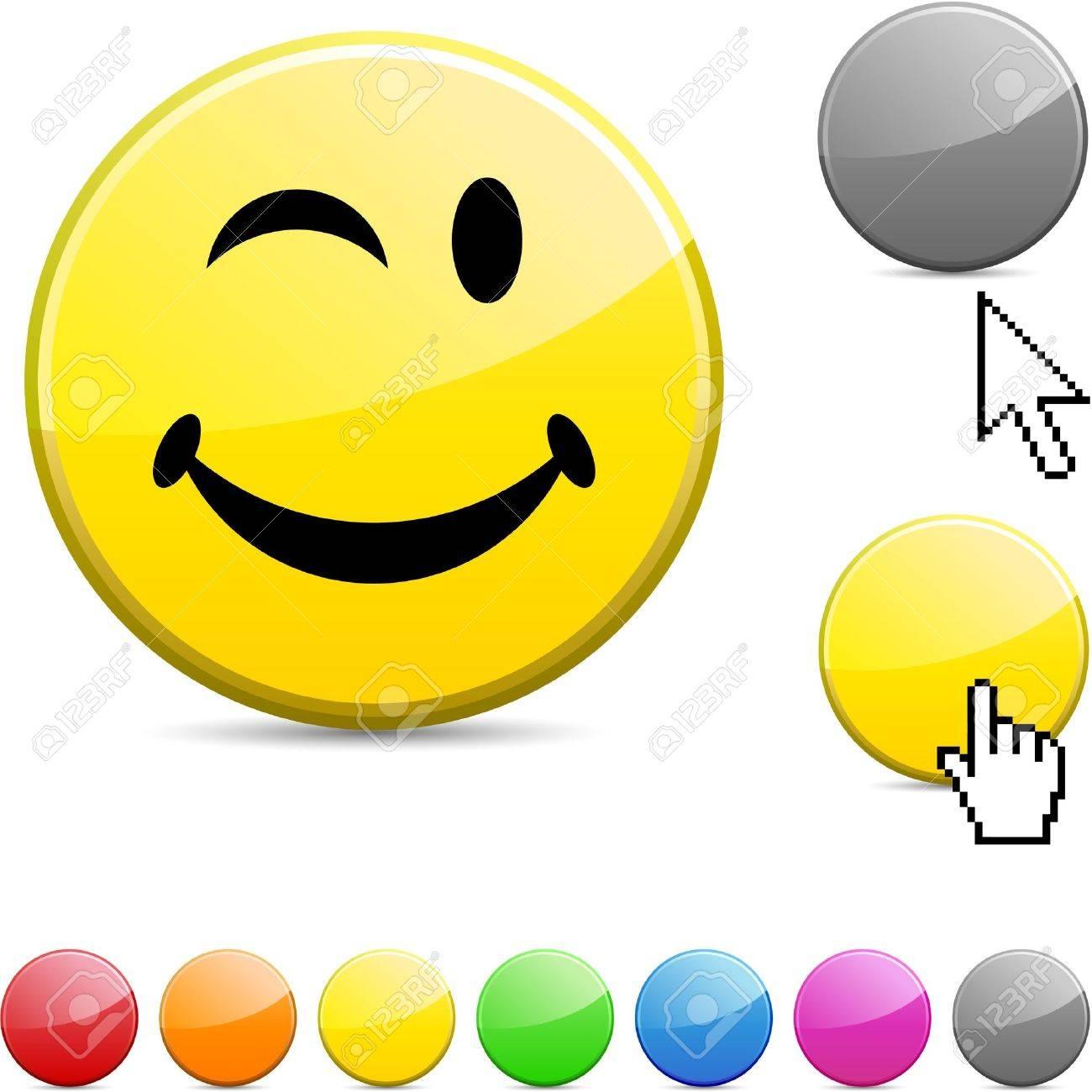 Smiley glossy vibrant round icon. - 7156256
