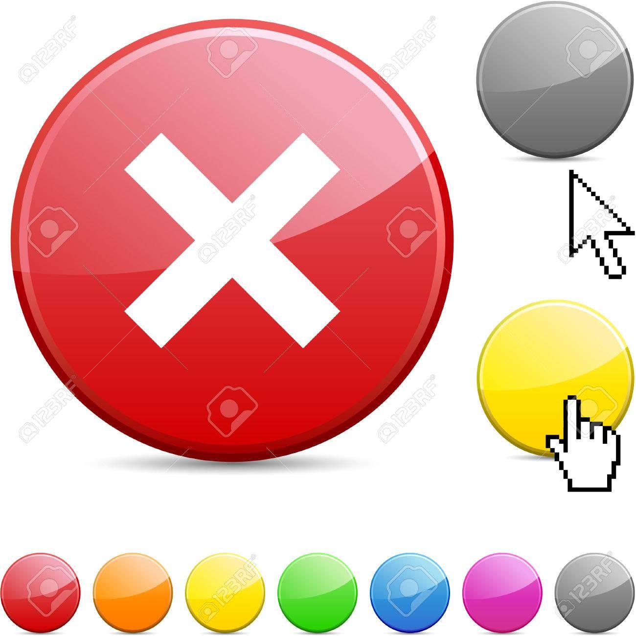 Abort glossy vibrant round icon. Stock Vector - 7168879