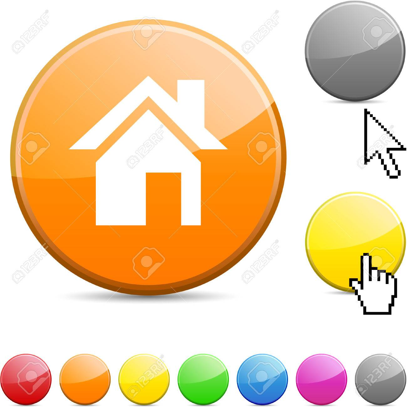 Home glossy vibrant round icon. Stock Vector - 7167812
