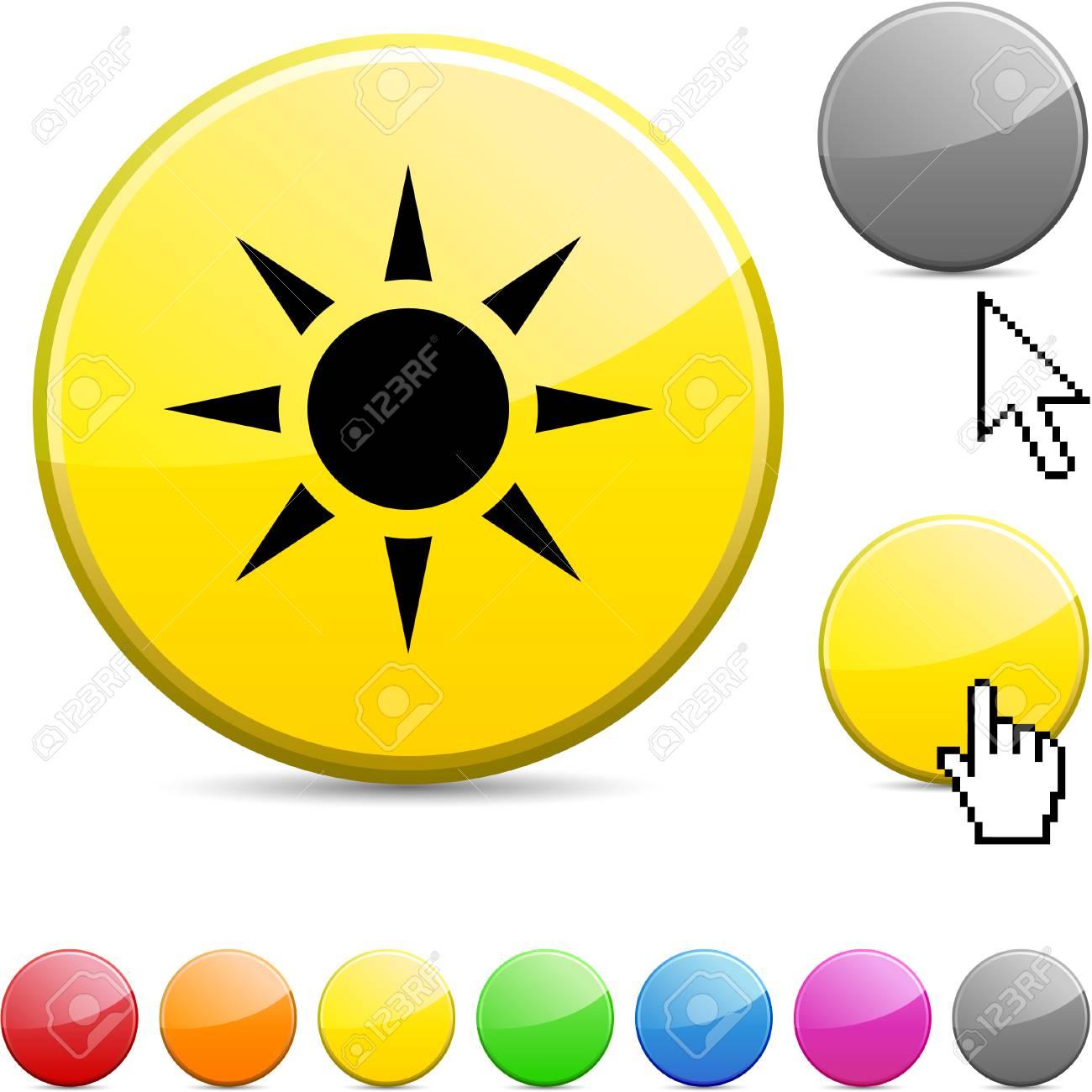 Sun glossy vibrant round icon. Stock Vector - 7195315