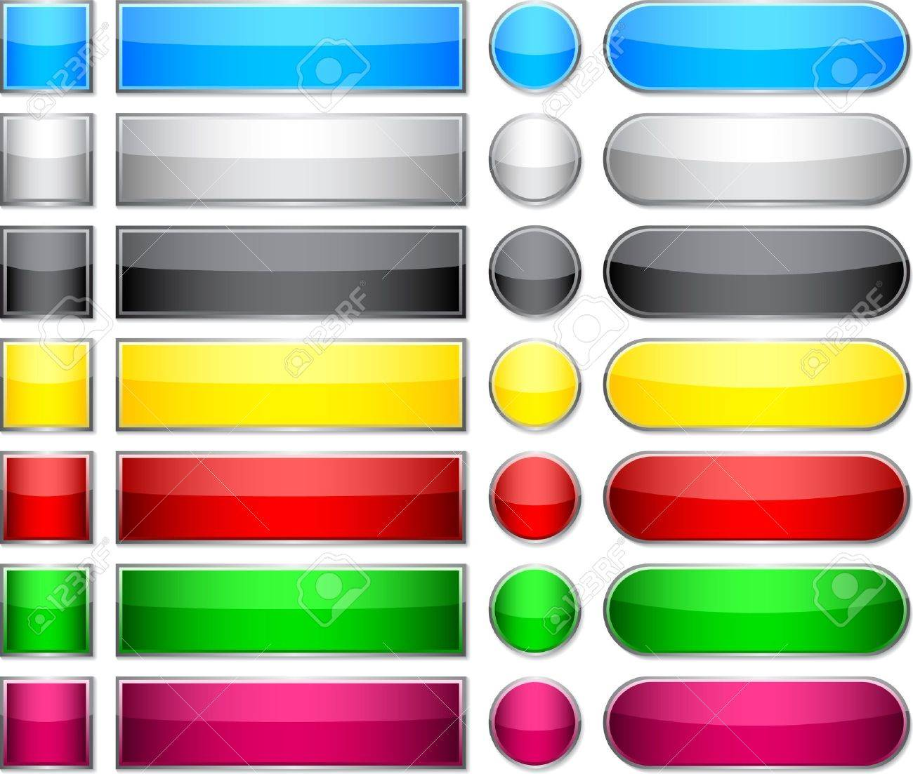 Blank Web Glossy Buttons. Royalty Free Cliparts, Vectors, And ...