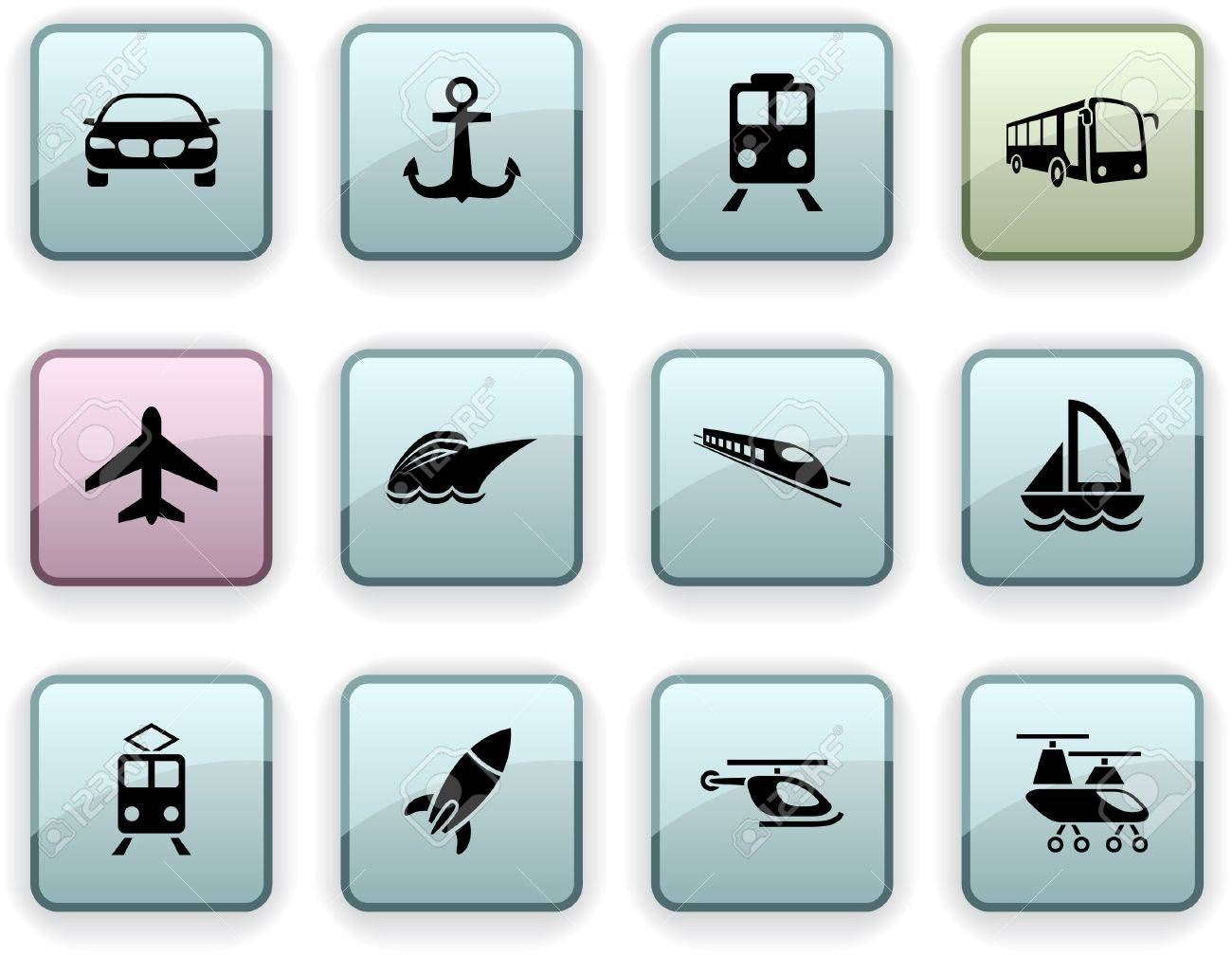 Transport set of square dim icons. Stock Vector - 7210404