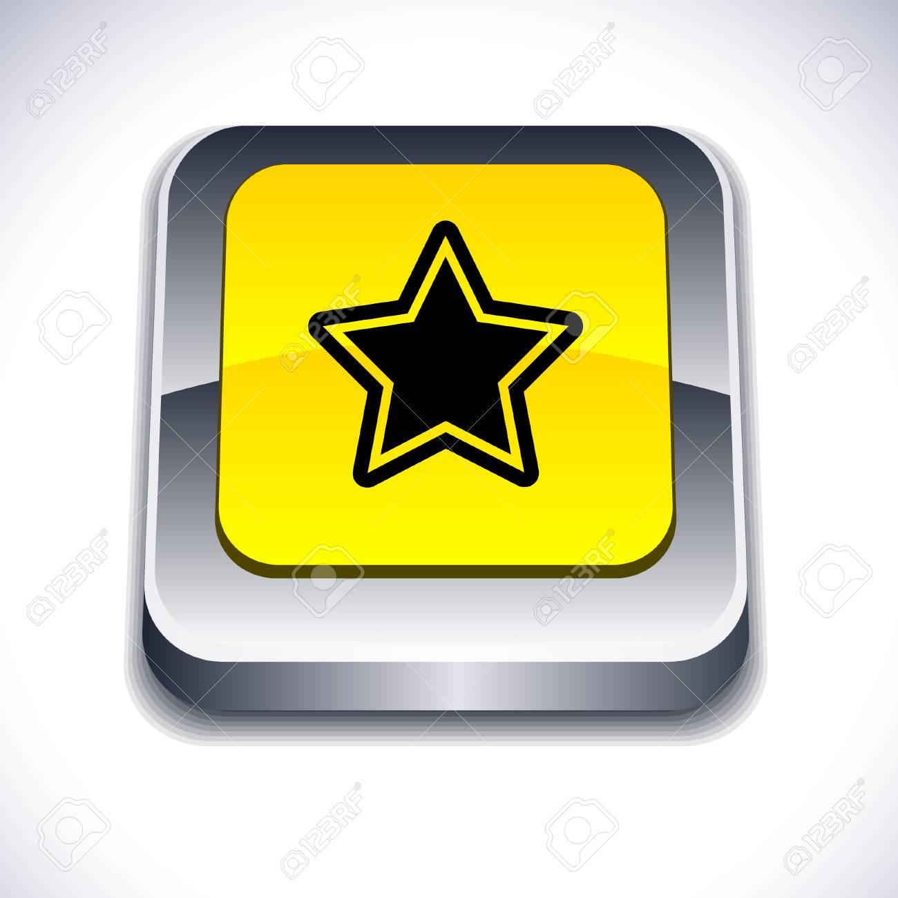 Star metallic 3d vibrant square icon. Stock Vector - 7261746
