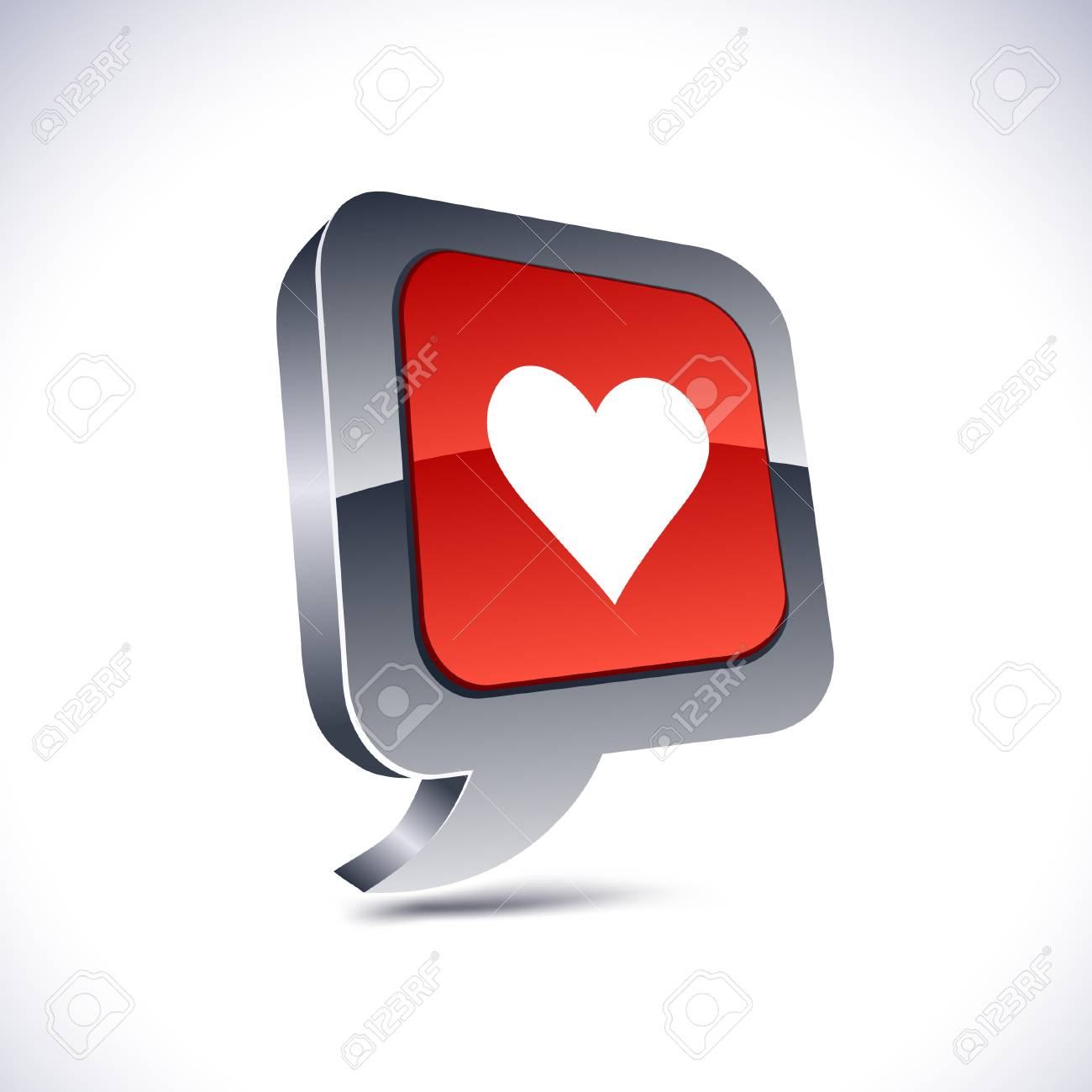 Love metallic 3d vibrant balloon icon. Stock Vector - 7293051