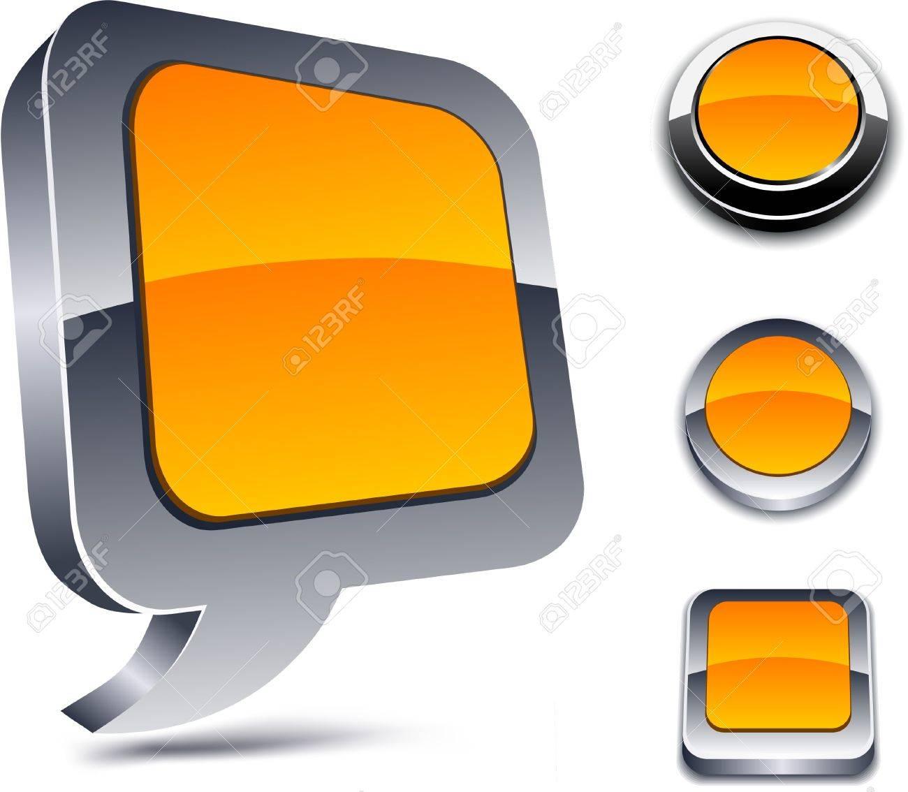 Metallic 3d vibrant orange icons. Stock Vector - 7322108