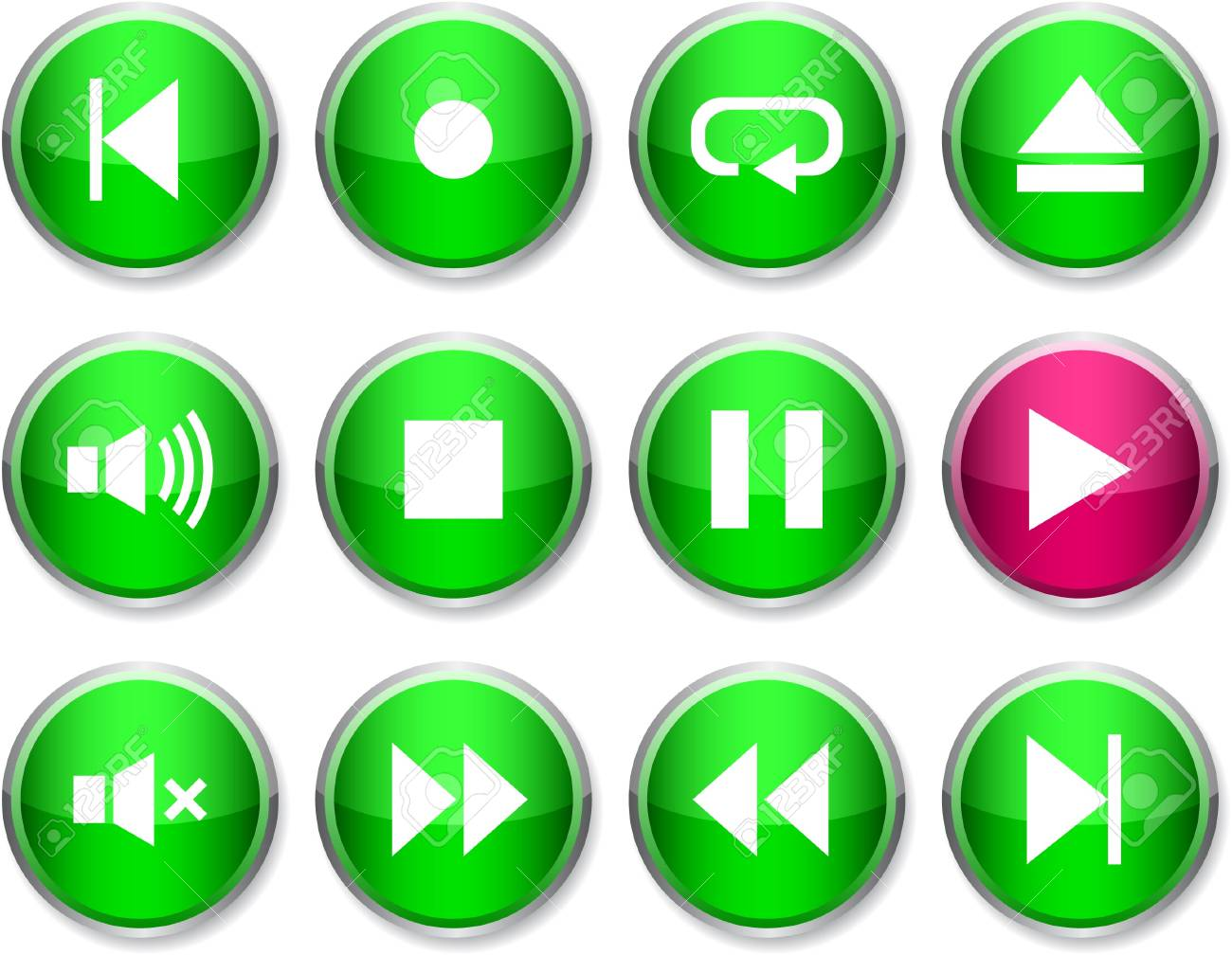 Player set of round glossy icons. Stock Vector - 7358476