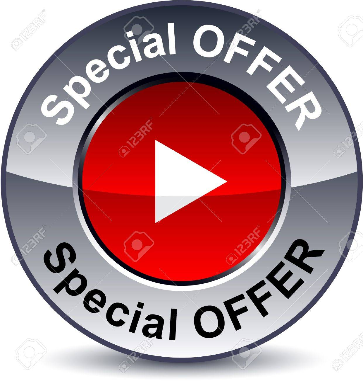 Special offer round metallic button. Vector. Stock Vector - 7509388