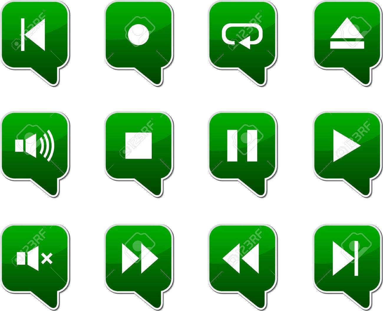 Player  set of square speech icons. Stock Vector - 7535320