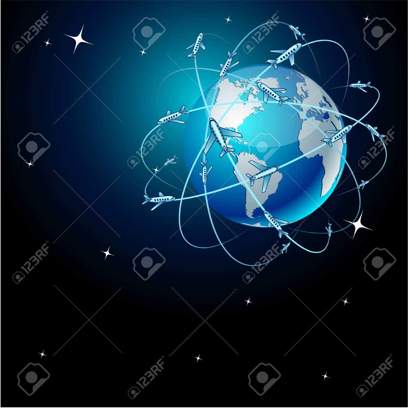 High-detailed transportation Earth in space Stock Vector - 7845052