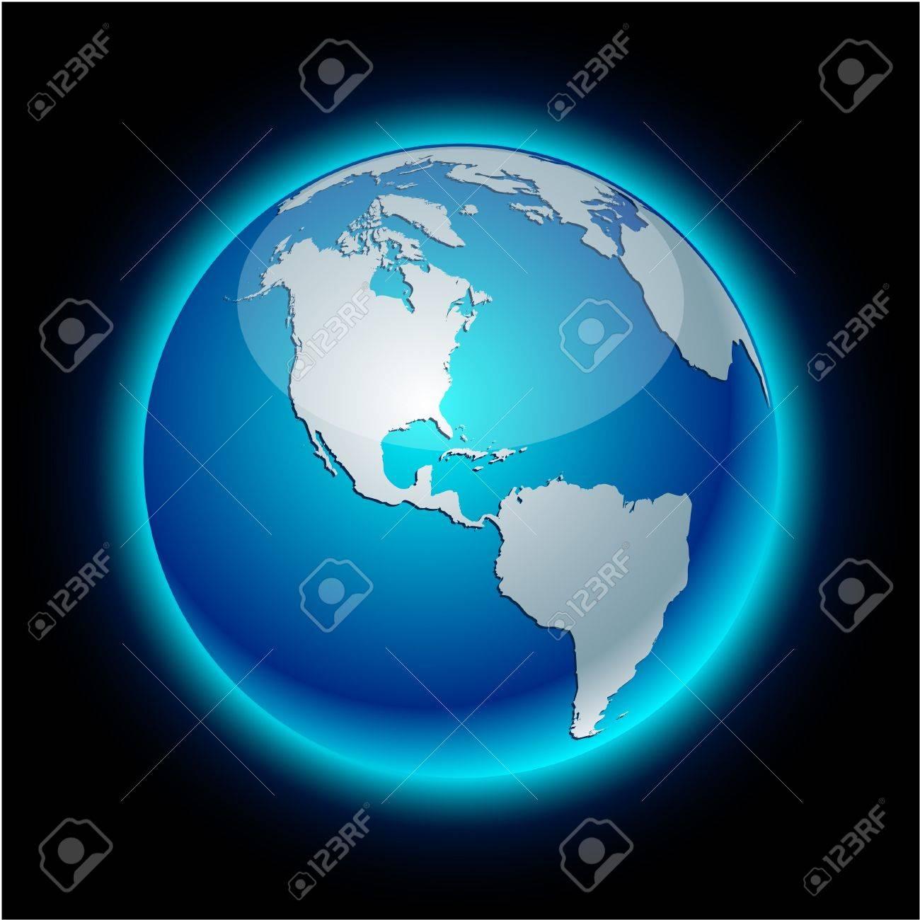 Blue neon high-detailed earth ball. Stock Vector - 7913749
