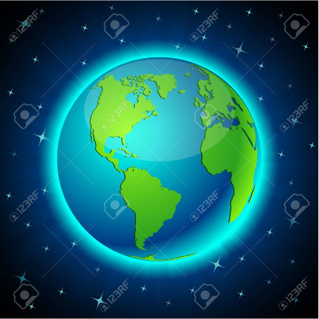 Blue neon high-detailed earth ball. Stock Vector - 8021699