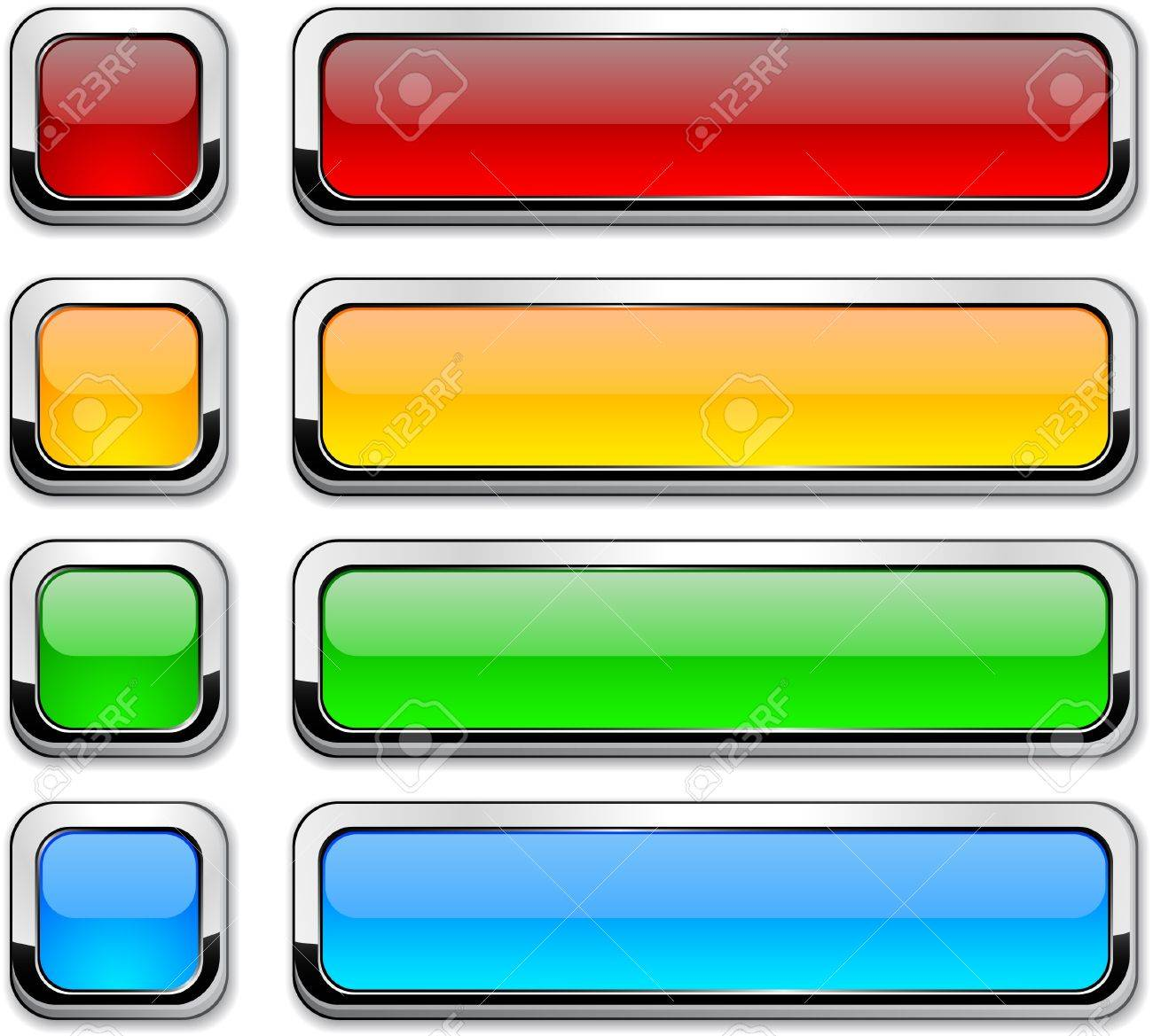 Set of buttons with metallic borders. Stock Vector - 8708455
