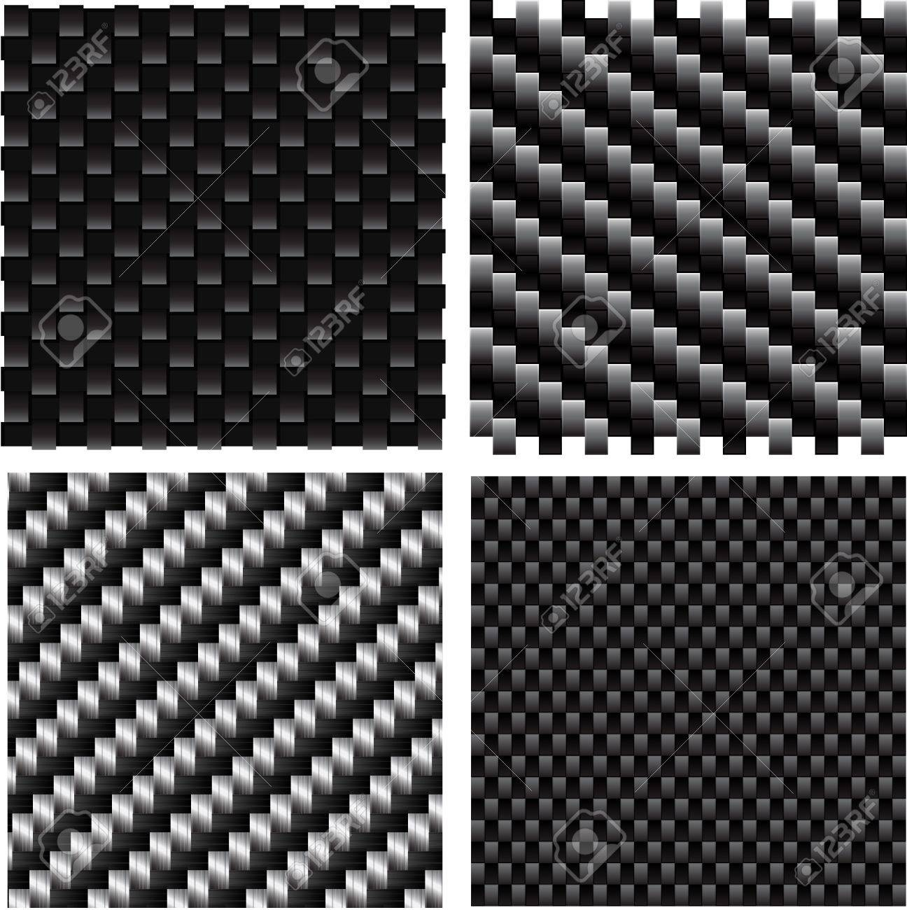 Vector set of textured carbon patterns. Stock Vector - 9618550