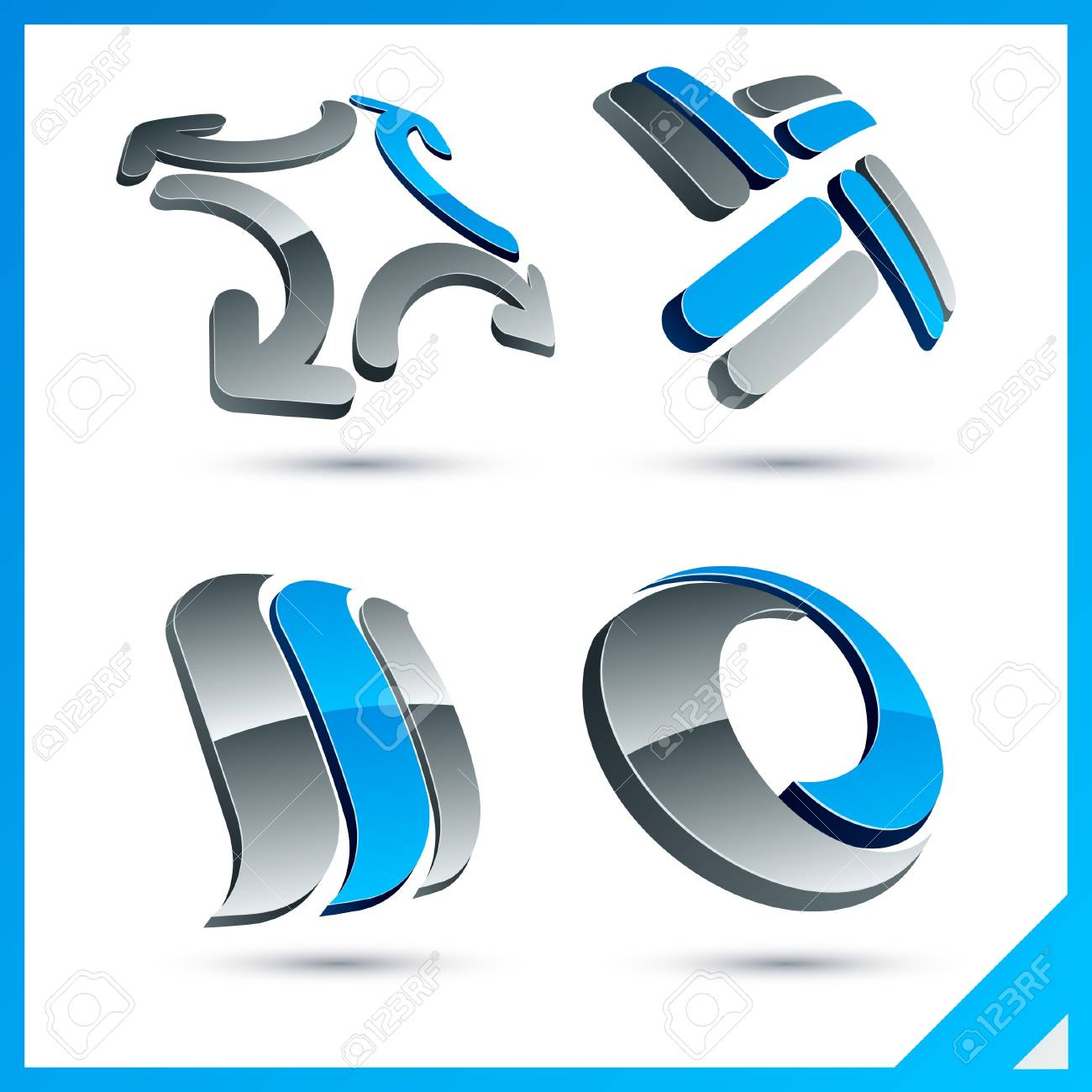 Set of vector business blue 3d signs. Stock Vector - 10059181