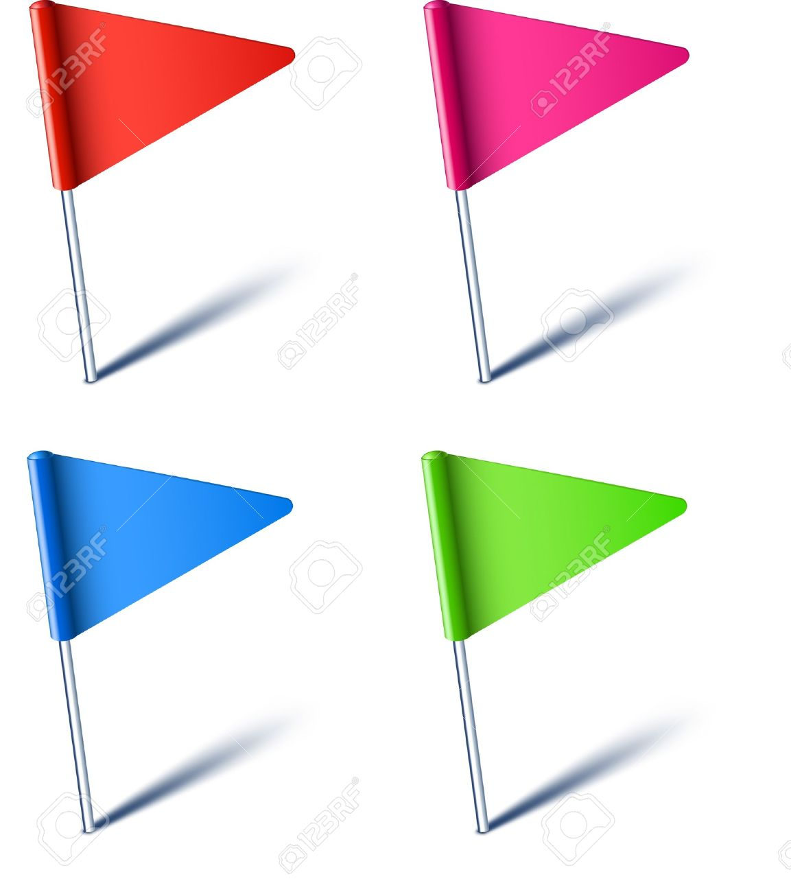 Vector illustration of color pin flags. - 10457935