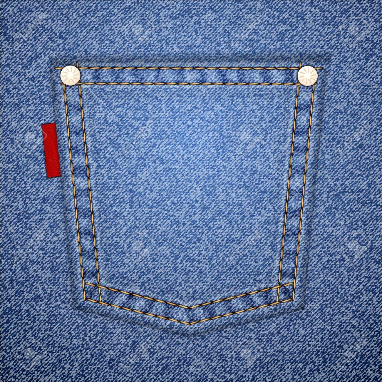 パターン デニムのジーンズのポケットベクトル イラストそれは簡単に