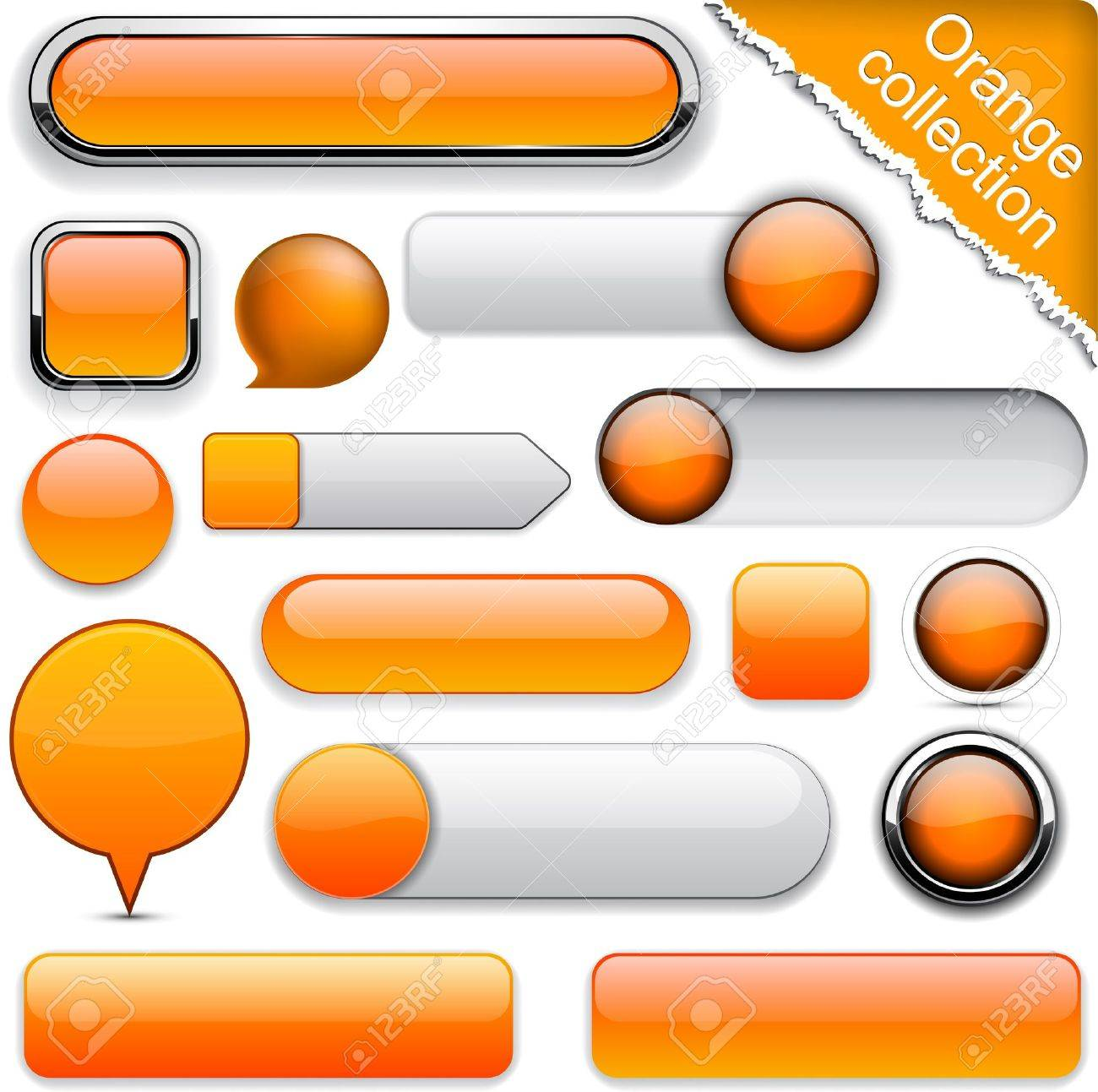 Blank orange web buttons for website or app. Stock Vector - 11577816