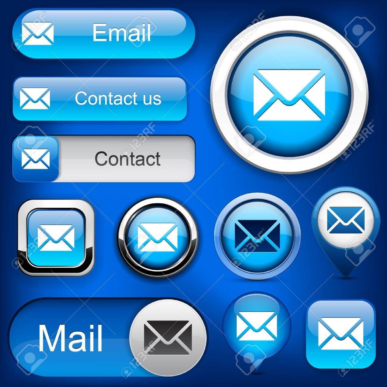 Mail blue design elements for website or app Stock Vector - 12437843