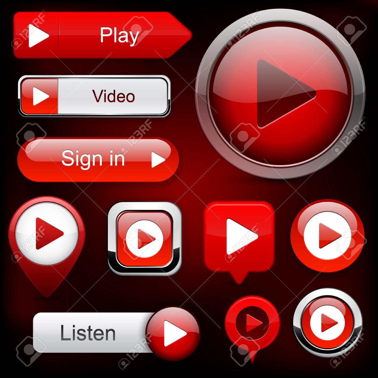 Play red web buttons for website or app Stock Vector - 12437847
