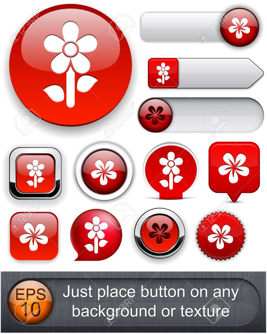 Flower red web buttons for website or app  Vector eps10 Stock Vector - 12497690