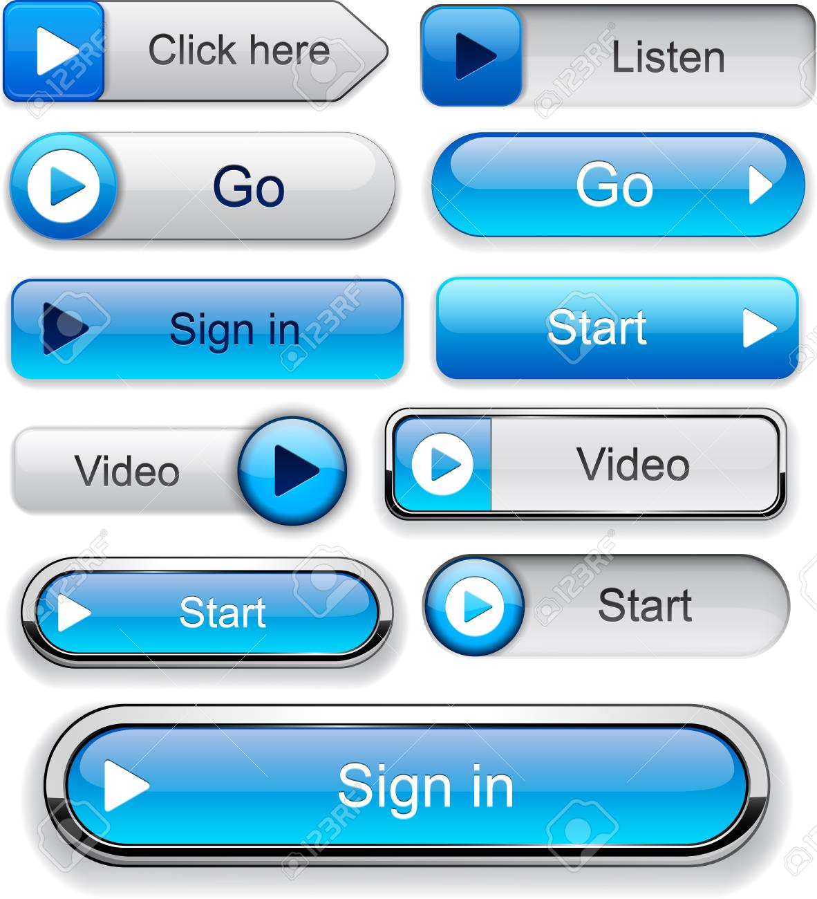Play blue web buttons for website or app  Vector eps10 Stock Vector - 12808526