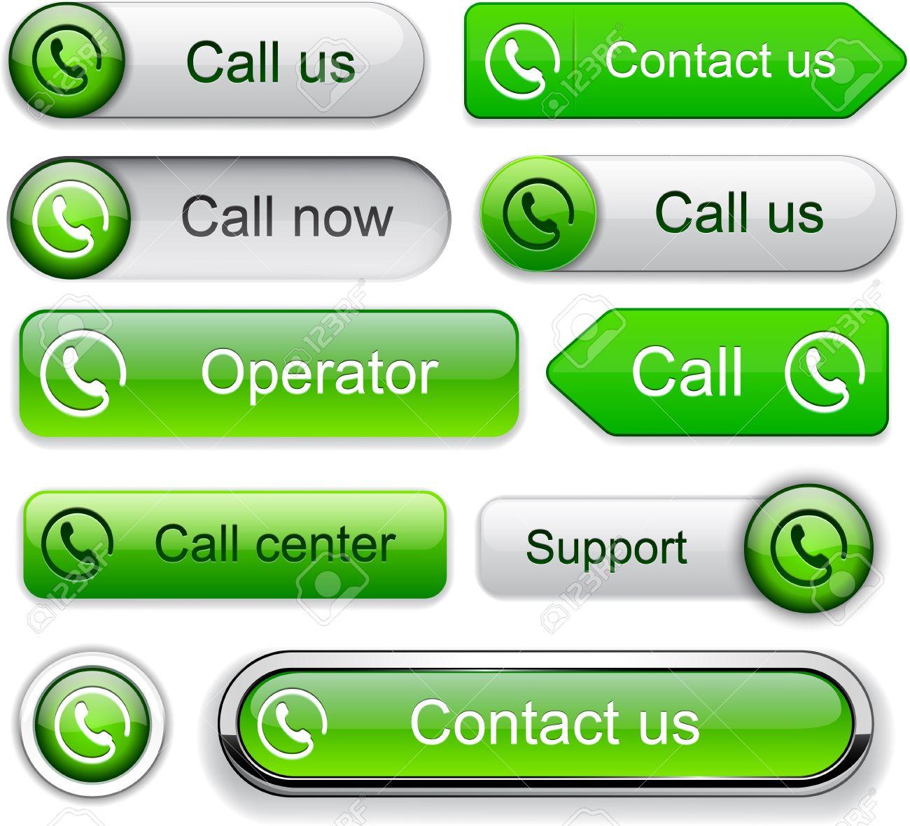 Call green web buttons for website or app  Vector eps10 Stock Vector - 12808618