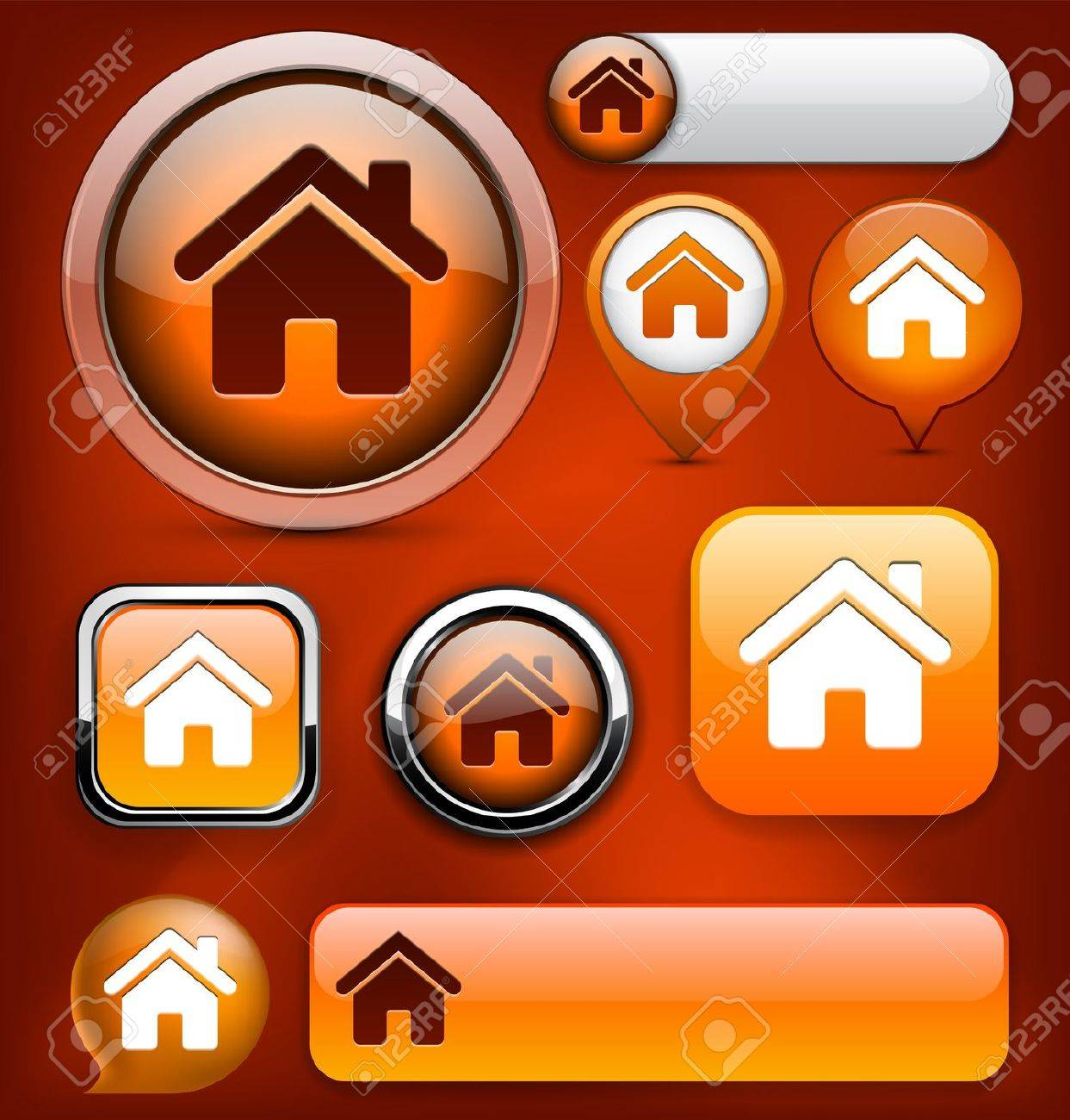 Home orange design elements for website or app. Vector eps10. Stock Vector - 12856673