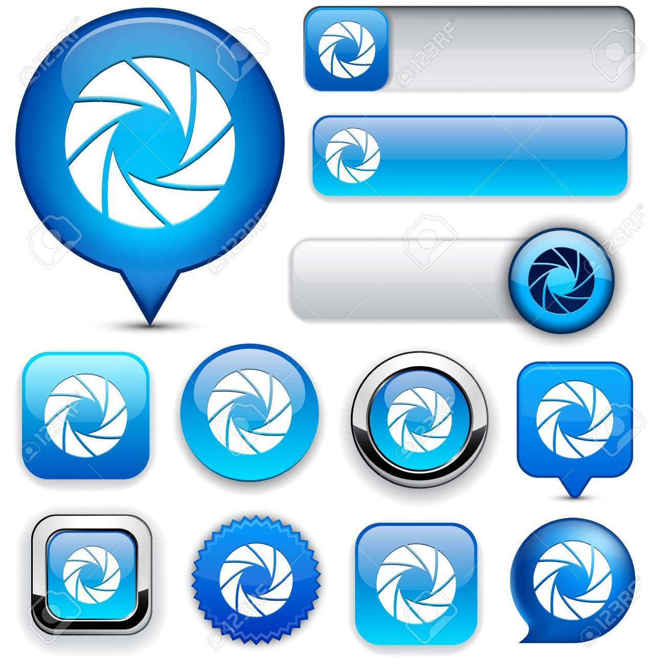 Aperture blue design elements for website or app. Vector eps10. Stock Vector - 12856722