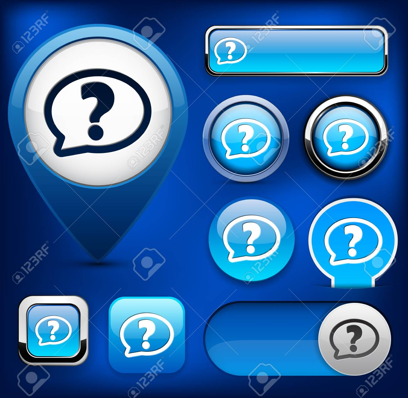 FAQ blue design elements for website or app Stock Vector - 13129018