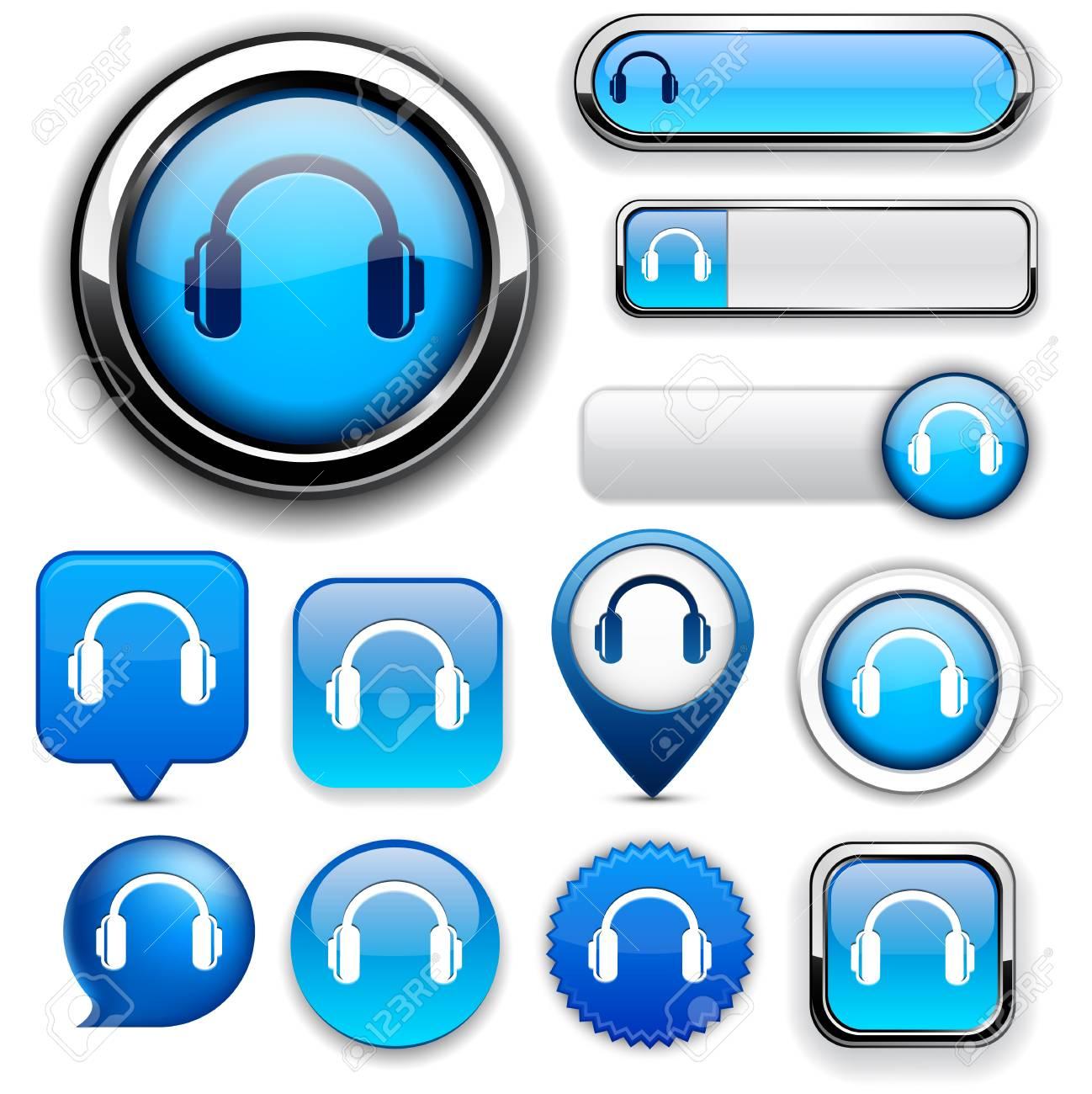 Headphones blue design elements for website or app Stock Vector - 13165872