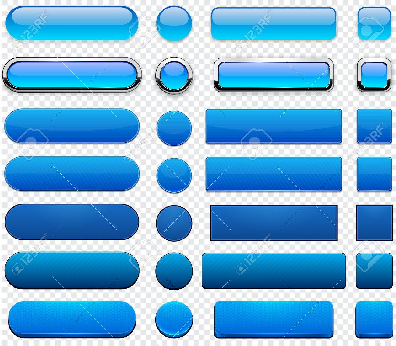 Set of blank blue buttons for website or app Stock Vector - 15060435